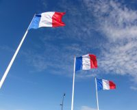 French flags blowing in the wind in Le Havre